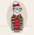 lamb boy dressed up in winter style vector image vector image