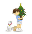little boy with cat and dog holding christmas tree vector image vector image