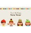 little kids in costumes for rosh hashanah jewish vector image vector image