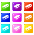 long meet table icons set 9 color collection vector image vector image