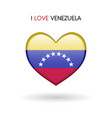 love venezuela symbol flag heart glossy icon on a vector image vector image
