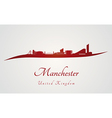 Manchester skyline in red vector image vector image