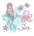 mermaid sea cartoon travel tropical vector image