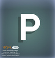 parking icon symbol on the blue-green abstract vector image