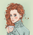 portrait beautiful young woman with coffee cup vector image vector image