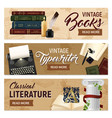 realistic literature horizontal banners vector image vector image