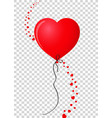 red realistic heart shaped helium balloon with vector image