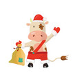 santa bull holding a bag with gifts chinese new vector image vector image
