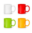 set of colored mugs on the white vector image vector image