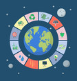 set of sustainable icons with planet vector image