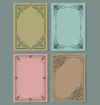 set vintage frames decorative border corners vector image