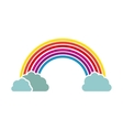 silhouette colorful with rainbow and clouds vector image