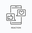 smartphone with reaction notifications flat line vector image vector image