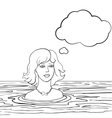 swimming woman with thinking bubble vector image