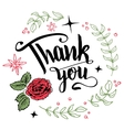 Thank you floral wreath calligraphy vector image vector image