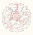 tropical flowers in form circle in sketch line vector image vector image