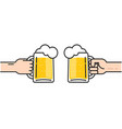 two friends holding beer glasses with foam vector image vector image