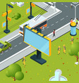 urban billboards isometric town with blank places vector image vector image
