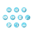 Valentines Day party blue round icons vector image