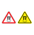 Warning sign beef attention Dangers yellow sign vector image vector image