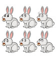 white bunny with different emotions vector image vector image