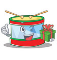 with gift toy drum character cartoon vector image vector image