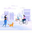 young people characters walking in city lifestyle vector image vector image