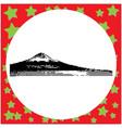 black 8-bit mount fuji at lake kawaguchiko vector image