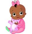 Cute baby girl with Teddy Bear vector image