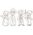 A plain sketch of Asian people vector image vector image