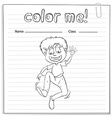A worksheet showing a boy dancing vector image vector image