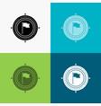 aim business deadline flag focus icon over vector image