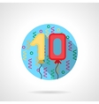 Birthday balloon numbers round flat icon vector image vector image