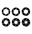 black camera shutter icons set on white background vector image vector image