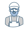 blue silhouette with half body of bearded delivery vector image vector image