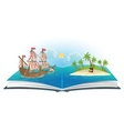 Book about ship and treasure island vector image vector image