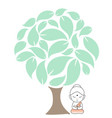 buddha meditating under a sacred fig tree vector image