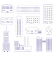 buildings and houses outline simple symbols eps10 vector image vector image