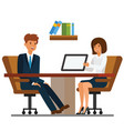 businessman and businesswoman discussion in office vector image vector image