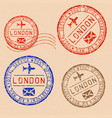 collection london postal stamps partially faded vector image