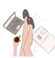 cozy home model legs in bed with vector image