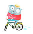 cute animal in sweater riding bike vector image vector image