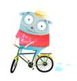 cute animal in sweater riding bike