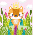 cute animals little tiger with crown foliage vector image