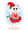cute cartoon cat dancing in christmas day vector image vector image