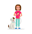 cute girl walking the dog and eating ice cream vector image
