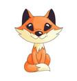 cute orange fox character sitting vector image