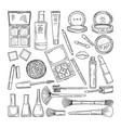 doodle of woman cosmetics makeup vector image