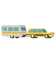flat yellow car pulling trailer vector image vector image