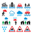 flood natural disaster heavy rain icons set - en vector image